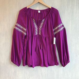 NWT Old Navy embroidered boho tassel top L purple